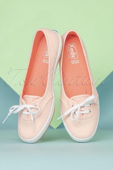 50s Teacup Twill Ballerina Sneakers in Rose