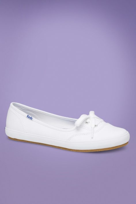 50s Teacup Twill Ballerina Sneakers in White