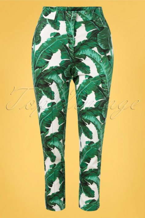 50s Tropical Leaves Trousers in Green