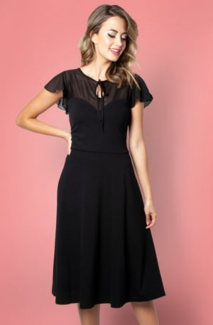 50s Victoria Flutter Sleeve Swing Dress in Black