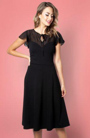 50s Victoria Flutter Sleeve Swing Dress in Black