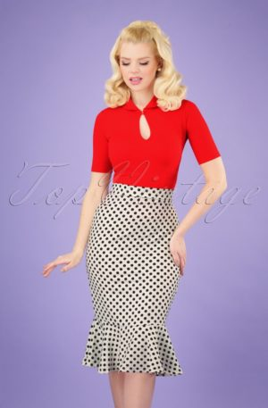 50s Viola Volant Pencil Skirt in White Polka