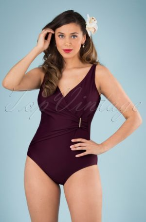 50s Vivienne Swimsuit in Aubergine