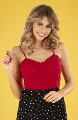 50s Wrap Front Top in Red