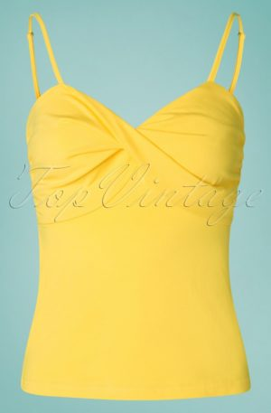 50s Wrap Front Top in Yellow