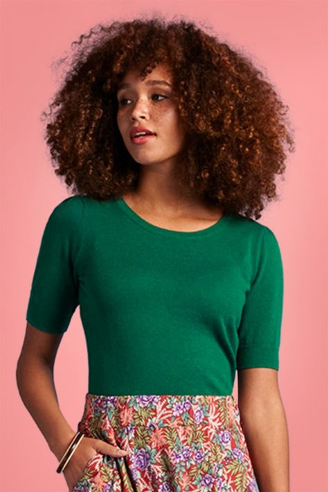 60s Agnes Cocoon Top in Para Green