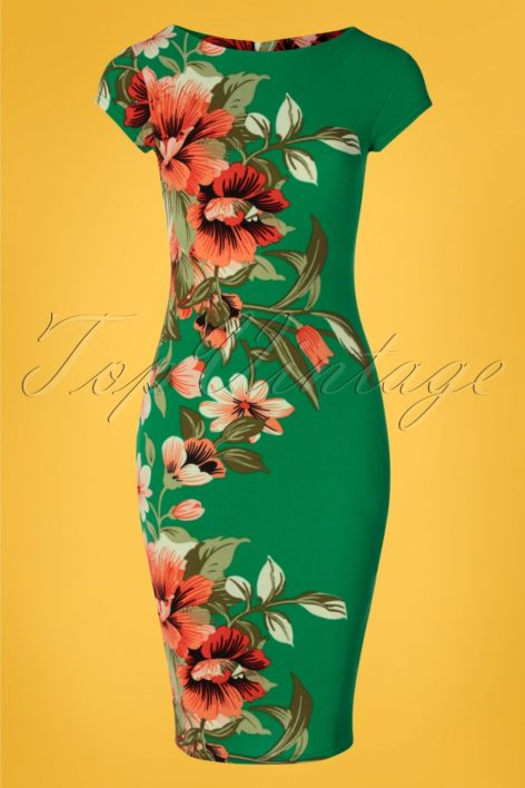 60s Aloha Tropical Floral Pencil Dress in Emerald Green
