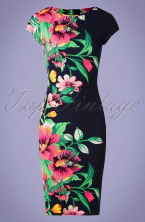 60s Aloha Tropical Garden Short Sleeves Pencil Dress in Navy