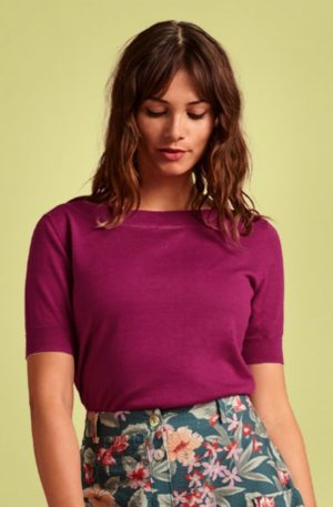60s Audrey Cottonclub Top in Vivid Purple