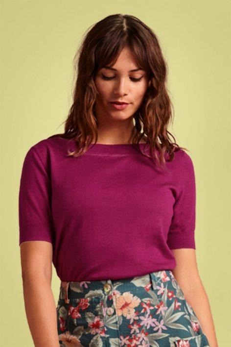 60s Audrey Cottonclub Top in Vivid Purple