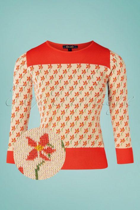 60s Bella Fauna Knit Top in Cream