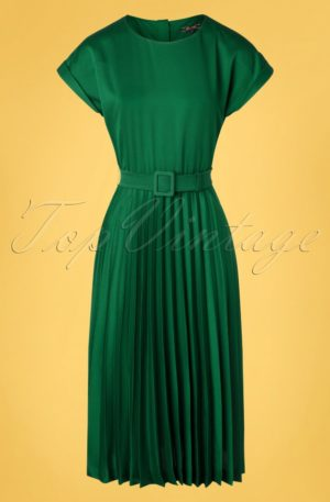 60s Betty Weekender Plisse Dress in Peacock Green