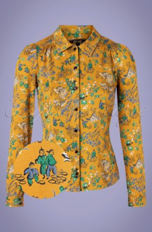 60s Bonsai Blouse in Spice Yellow