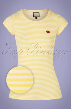 60s Casual Elegance Top in Yellow and White Stripes