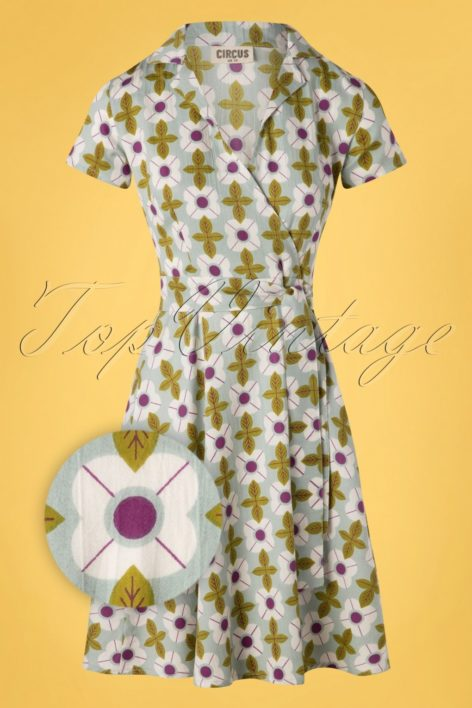 60s Cynthia Tile Floral Dress in Duck Egg Green
