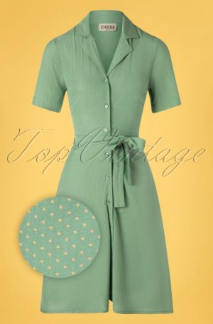 60s Daphne Pin Dot Swing Dress in Duck Egg Green