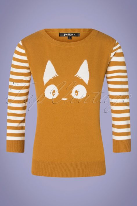 60s Debbie Cat Striped Sweater in Bronze Yellow