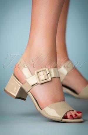 60s Dorothy Patent Block Heel Sandals in Cream