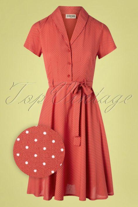 60s Hilda Pin Dot Swing Dress in Pale Red