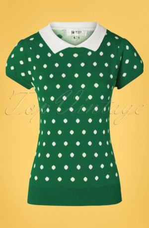 60s Kristen Polkadot Sweater in Green and White