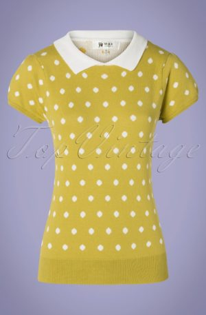 60s Kristen Polkadot Sweater in Moss Yellow and White