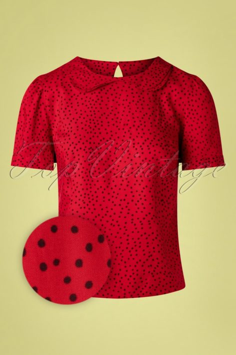 60s Leila Polkadot Blouse in Red