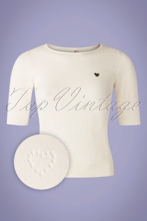 60s Logo Roundneck Pully in White Heart Anchor