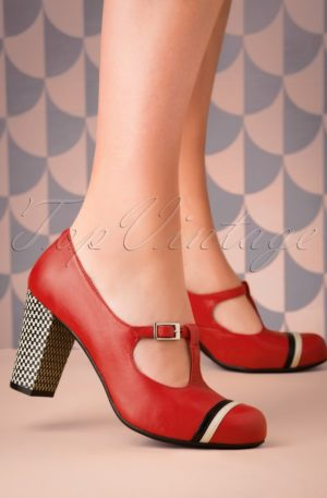 60s Madison Rojo Leather T-Strap Pumps in Red
