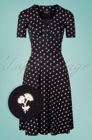 60s Marguerite Flowers Dress in Black