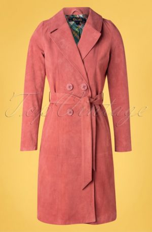 60s Mia Suede Coat in Dusty Rose