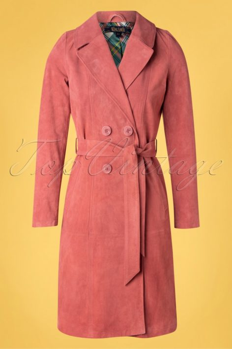 60s Mia Suede Coat in Dusty Rose