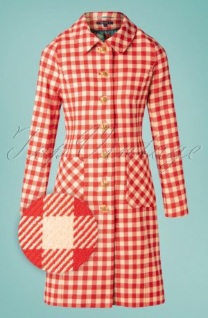 60s Nathalie Nimes Check Coat in Red