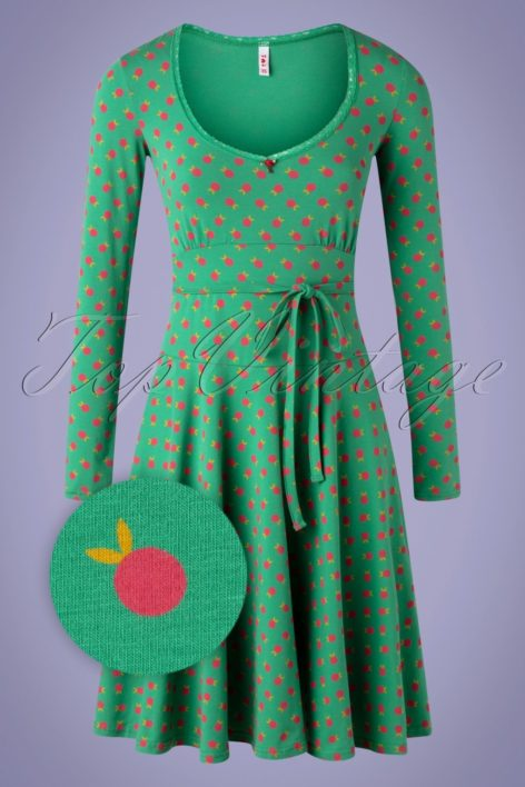 60s Ode To The Woods Dress in Apple Picking Green