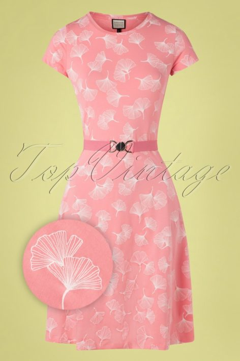 60s Oh Yeah Ginko Leaves Dress in Pink