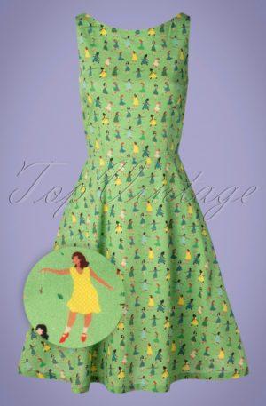 60s Saga Dance Dress in Green