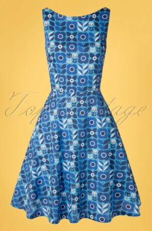 60s Saga Proslin Dress in Blue