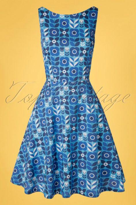 60s Saga Proslin Dress in Blue