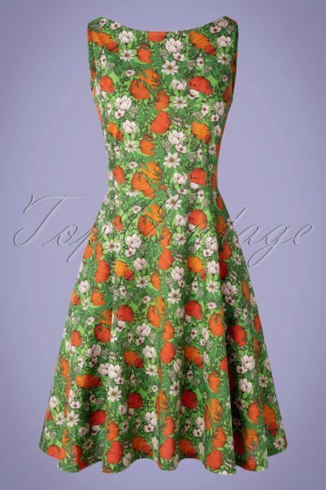 60s Saga Vallmo Dress in Green and Orange