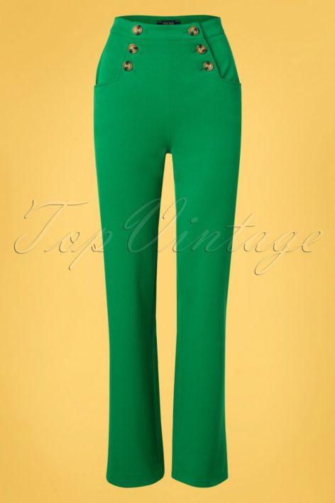 60s Sailor Broadway Pants in Very Green