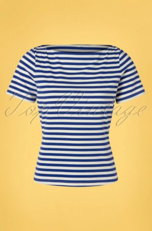 60s Sally Striped Top in Blue and White