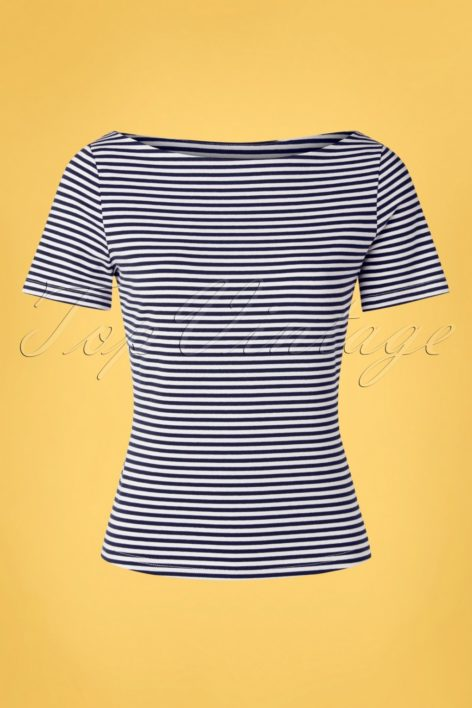 60s Sally Striped Top in Navy and White