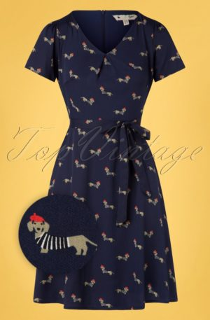 60s Sausage Dog Skater Dress in Navy