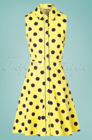 60s Sharen Polkadot Sun Dress in Yellow