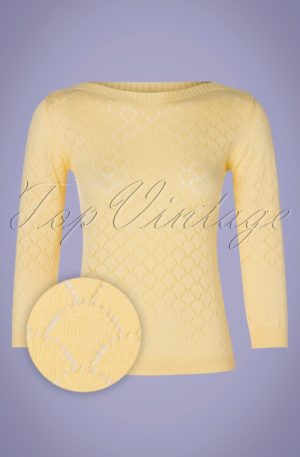 60s Staying Up Knit Jumper in Pastel Yellow