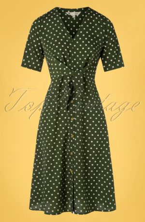 60s Tara Tie Knot Dress in Green Polka