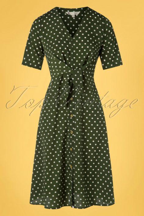 60s Tara Tie Knot Dress in Green Polka