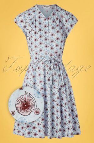 60s Terry Tallbike Swing Dress in Light Blue