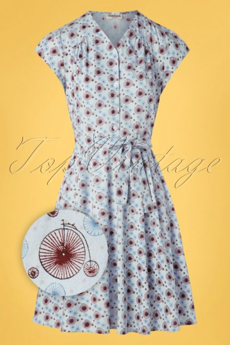 60s Terry Tallbike Swing Dress in Light Blue