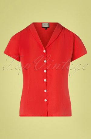 60s Tres Bien Blouse in Uni Red