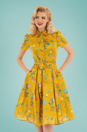 60s Yolanda Floral Swing Dress in Yellow
